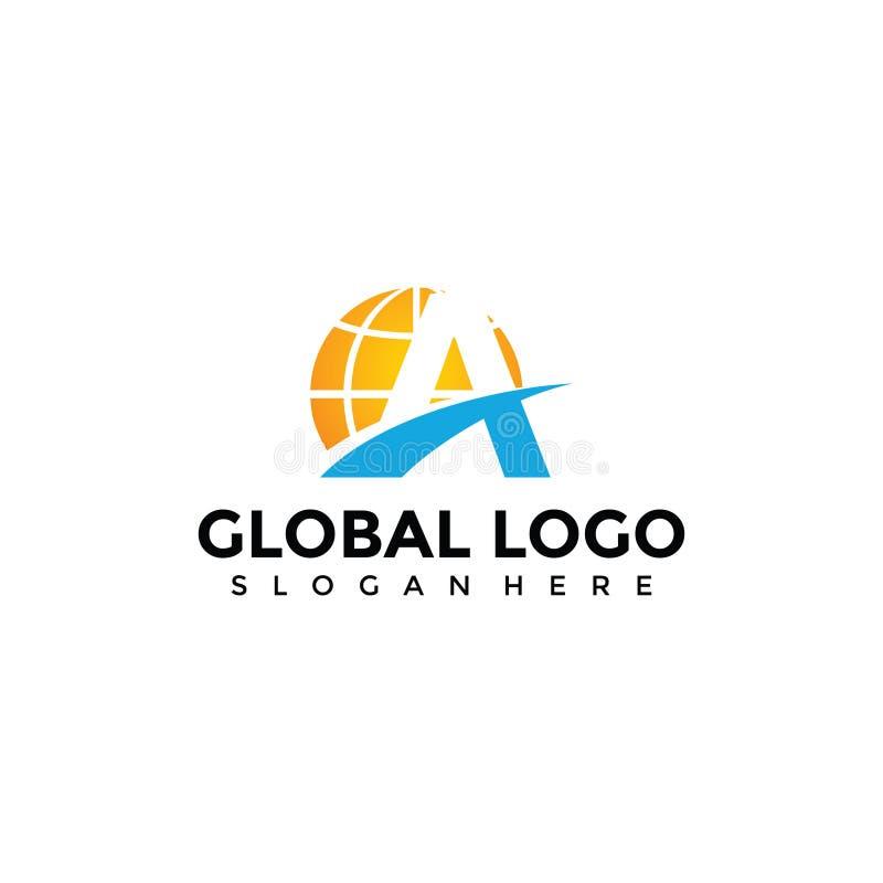 Abstract Globe and Letter A Logo Template Vector Illustrator EP ilustración del vector