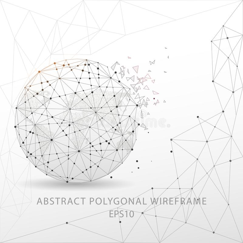 Abstract globe polygonal wire frame on white background. stock illustration