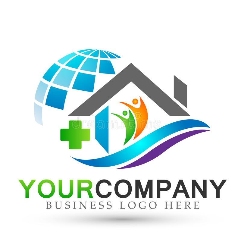 Abstract globe Real estate medical cross home company house people logo icon on white background royalty free illustration