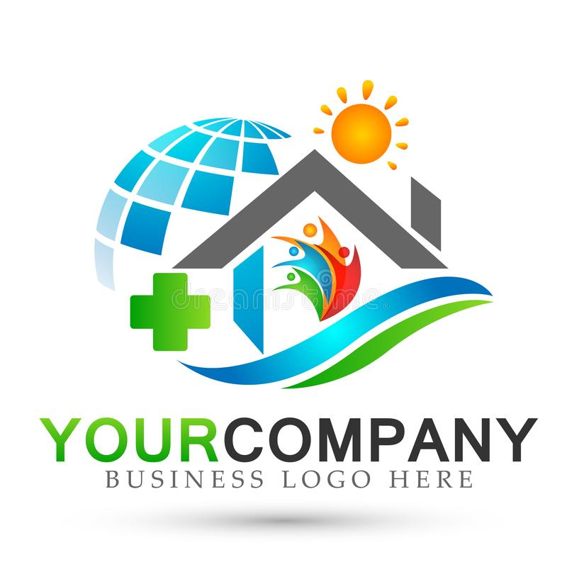 Abstract globe Real estate sun medical cross home company house people logo icon on white background royalty free illustration