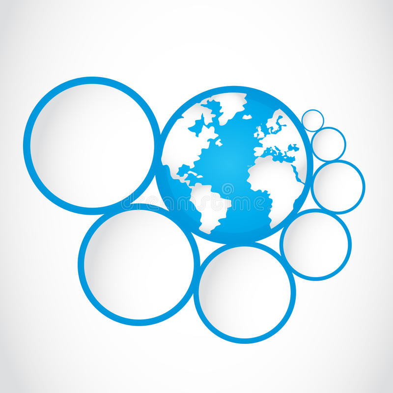 Abstract globe symbol with option circles. Abstract blue globe symbol with option circles background stock illustration