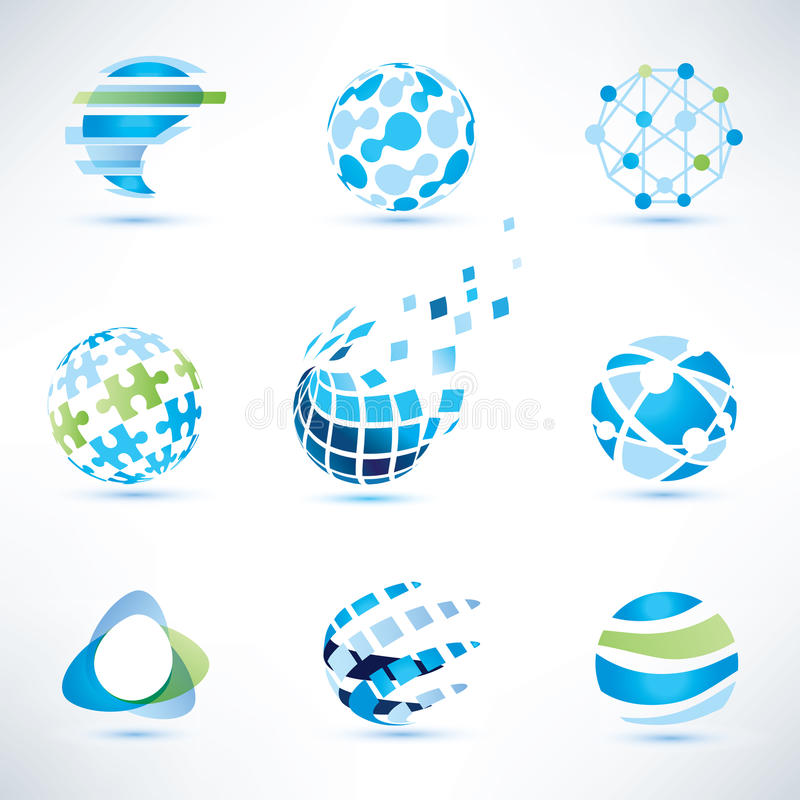 Abstract globe symbol set, communication and technology icons. Internet and social network concept stock illustration