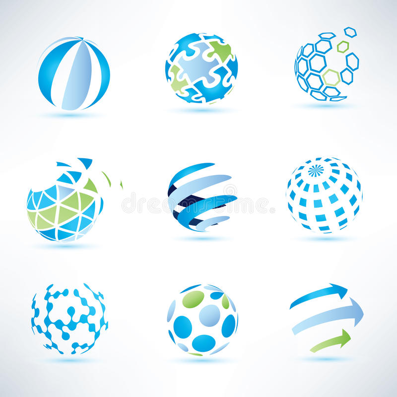 Abstract globe symbol set, communication and technology icons royalty free illustration