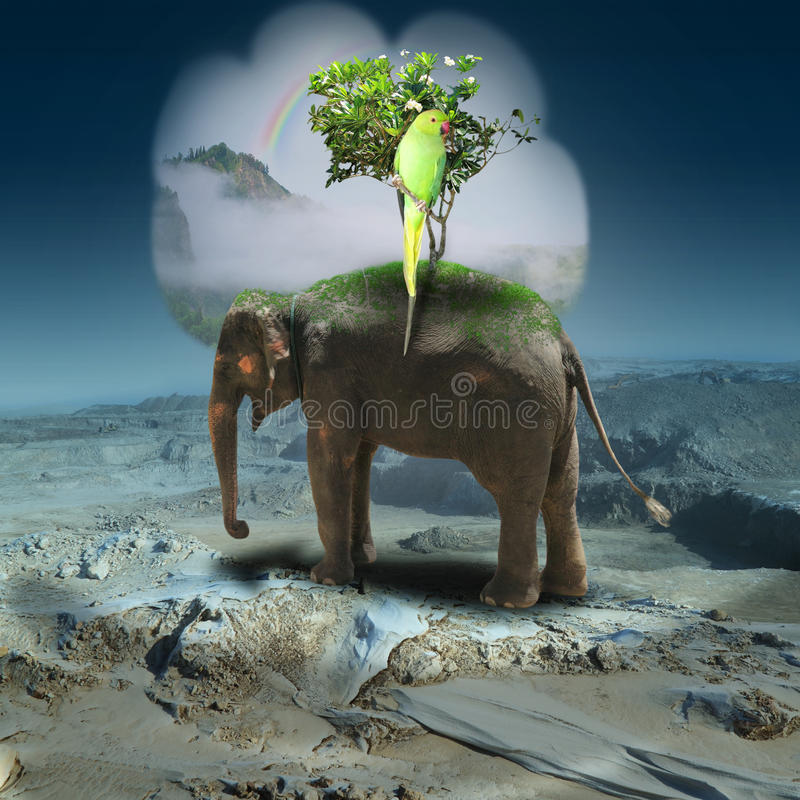 Abstract gloomy landscape with the elephant in lifeless desert. Elephant with a tree and a parrot costs in lifeless stony desert and recollects a green tropical stock photography