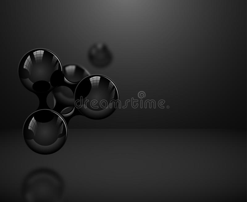 Abstract glossy black molecules or atoms on dark background. Vector illustration for modern science medical design or logo vector illustration