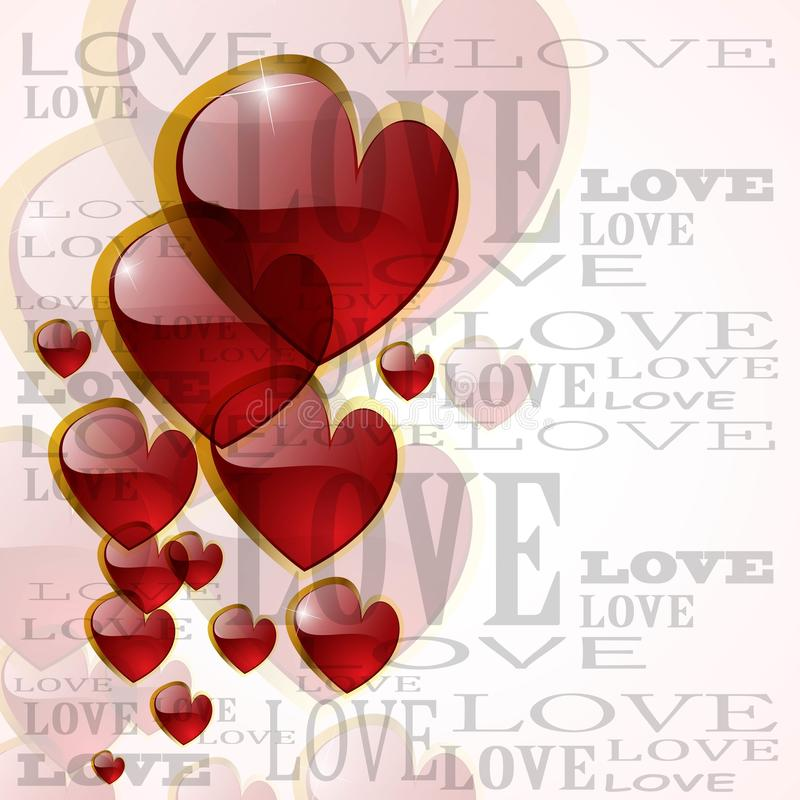 Abstract glossy heart on white vector illustration