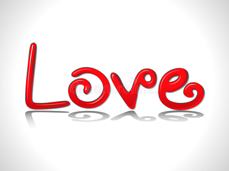 Abstract glossy red 3d love text vector illustration