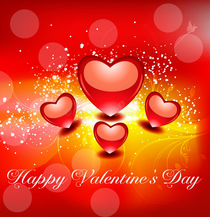 Download Abstract Glossy Valentine's Day Card With Floral Stock Image - Image: 23075311