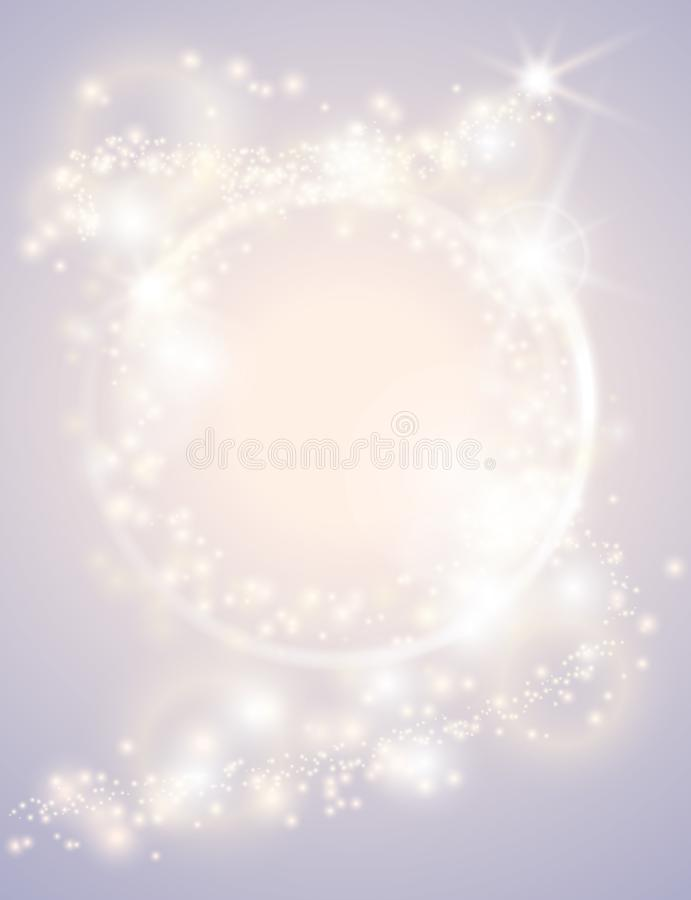 Abstract glow light spark circle frame bright Christmas background. Sparkling festive design poster. Glitter magic round border stock illustration