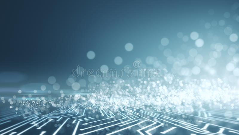 Abstract glowing blurry circuit background royalty free illustration