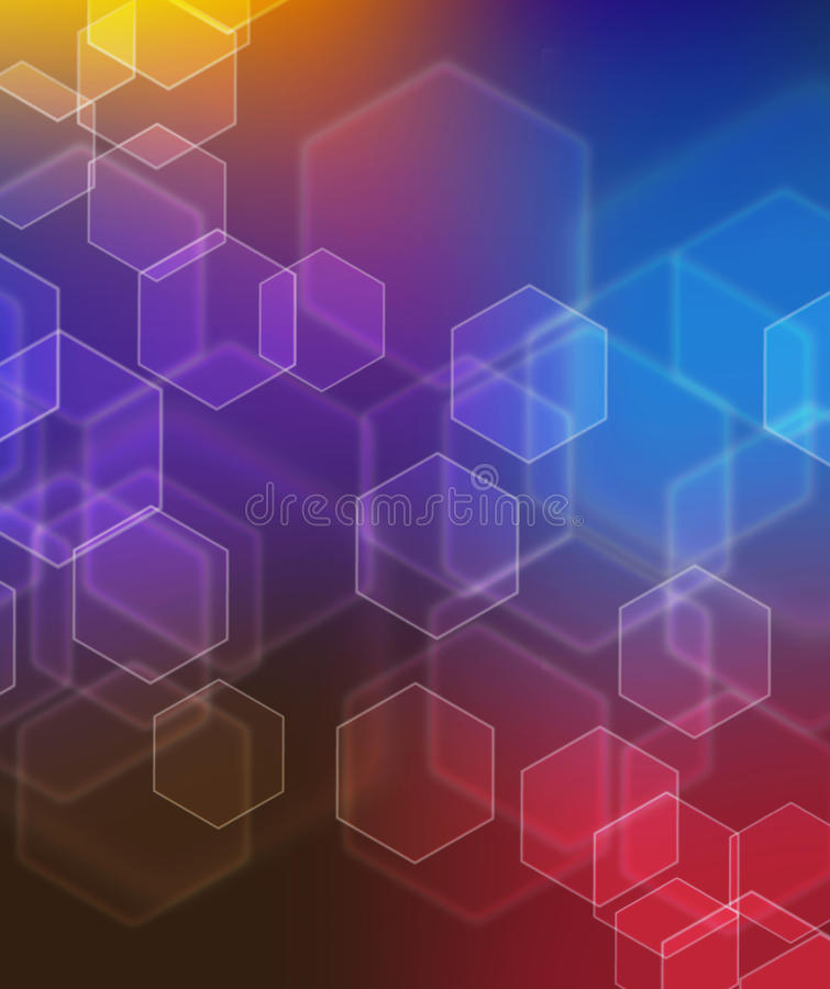 Abstract glowing Bokeh background in blue, red stock image