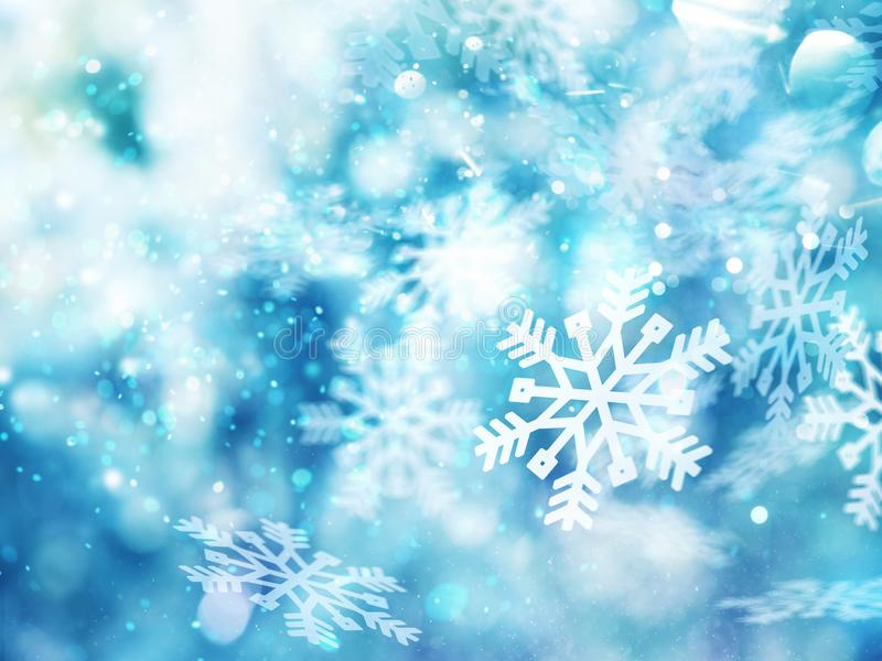 Abstract glowing Christmas blue background with snowflakes royalty free illustration