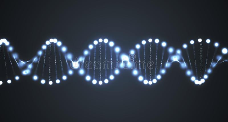 Abstract glowing DNA molecules on black background. 3D rendered illustration.  stock illustration