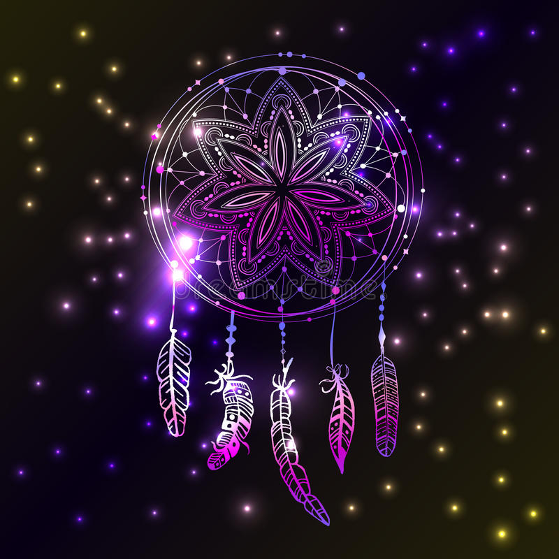 Abstract glowing dreamcatcher in blue and pink colors. Luminescence illustration. Boho style background, ethnic design elem vector illustration