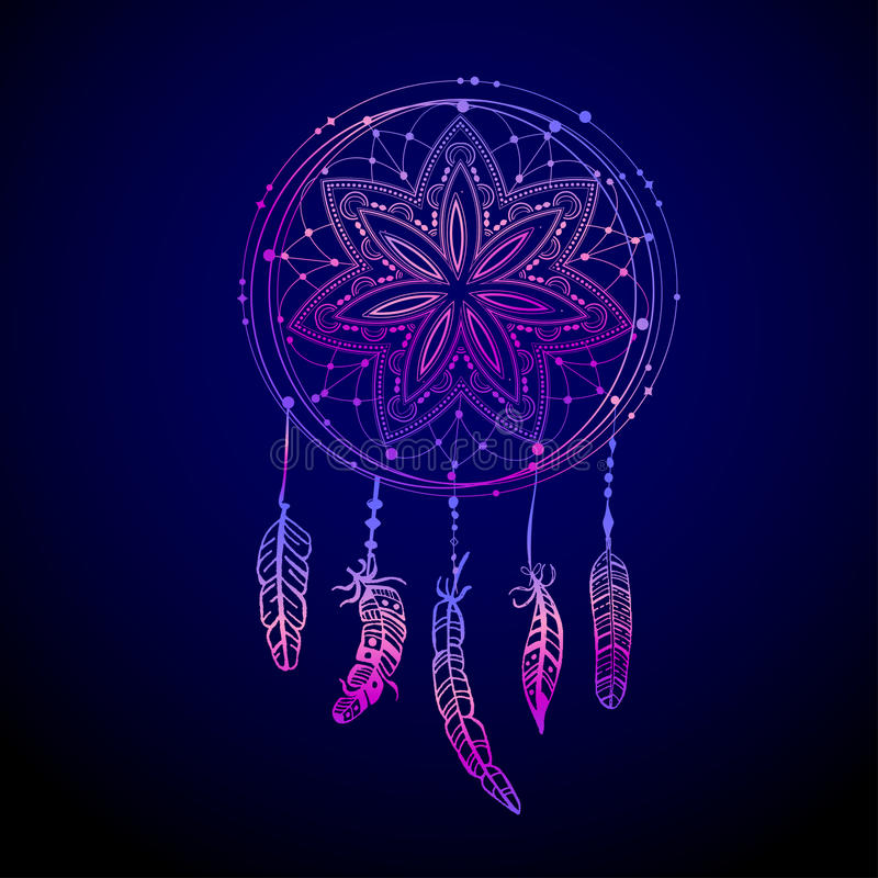 Abstract glowing dreamcatcher in blue and pink colors. Luminescence illustration. Boho style background, ethnic design elem stock illustration