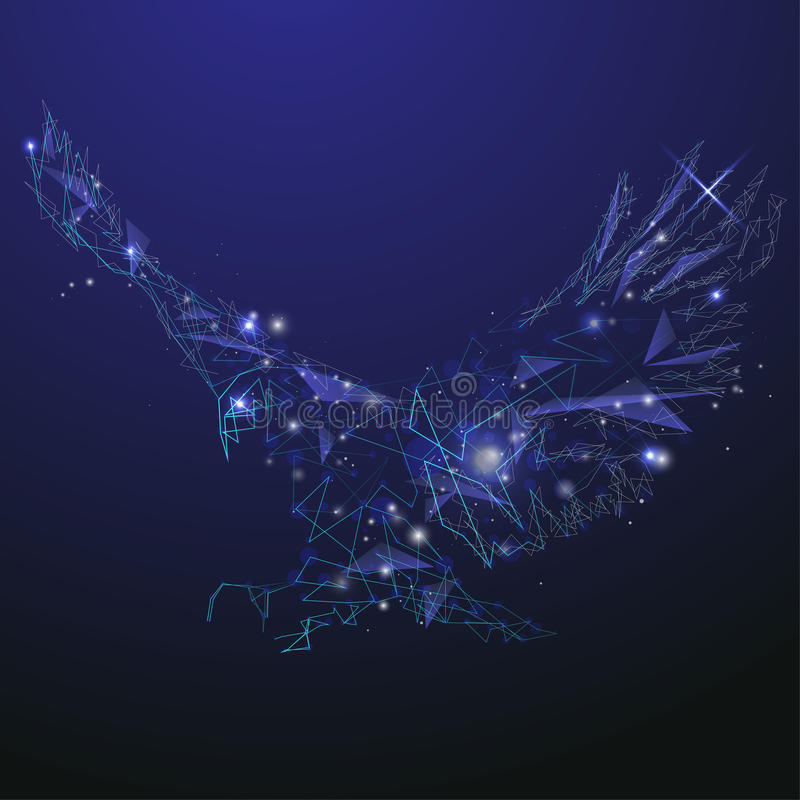 Abstract glowing eagle. On the blue background stock illustration
