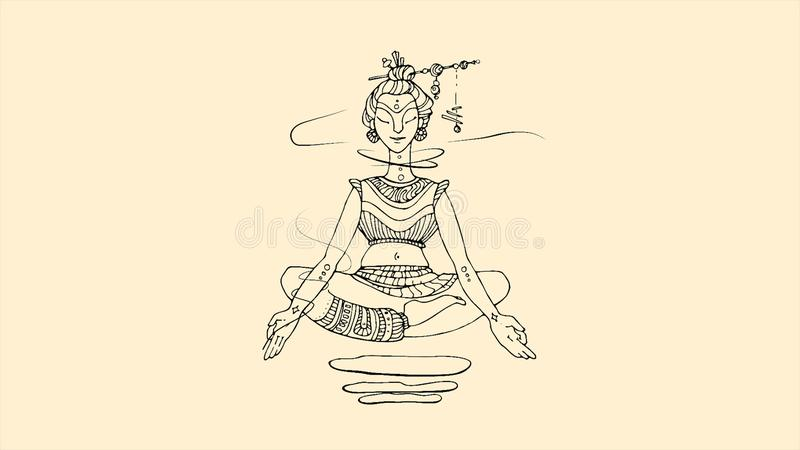Abstract, glowing, flying up and down Buddha in lotus position on dark blue background. Line illustration of soaring. Buddha, Buddhism religion, wellness, yoga vector illustration