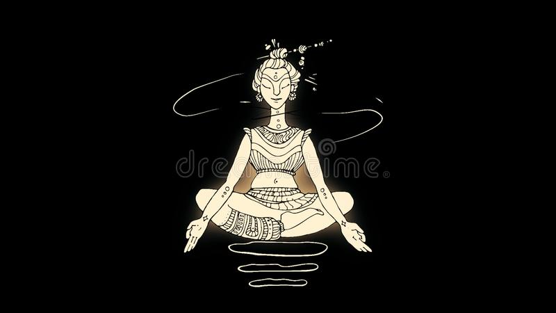 Abstract, glowing, flying up and down Buddha in lotus position on dark blue background. Line illustration of soaring. Buddha, Buddhism religion, wellness, yoga royalty free illustration