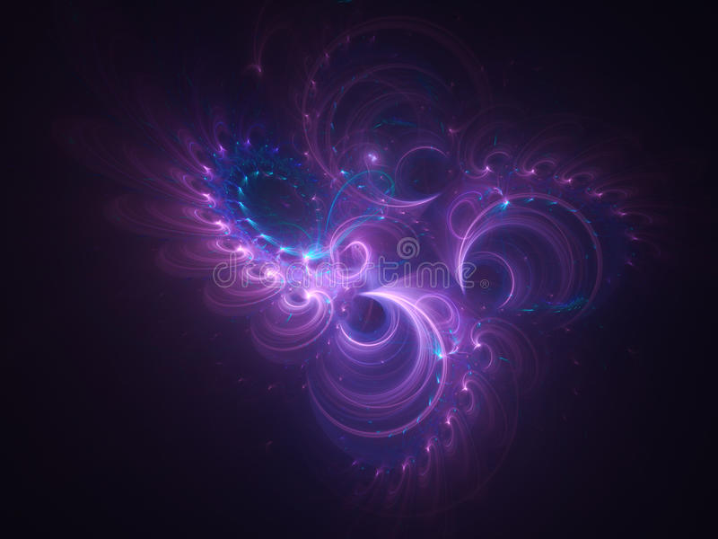 Abstract glowing fractal background with purple swirl ornament stock images