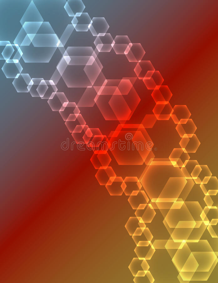 Abstract Glowing Hexagons Background stock illustration