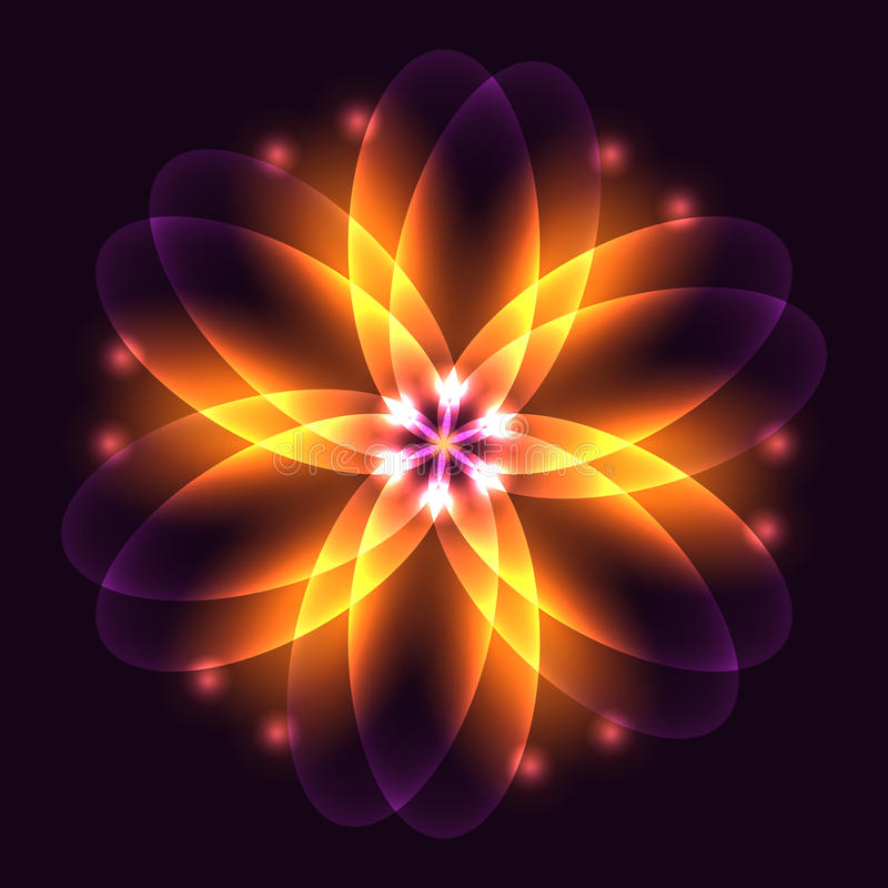 Abstract glowing light flower, symbol of life and energy, fire f. Ractal. Vector illustration royalty free illustration