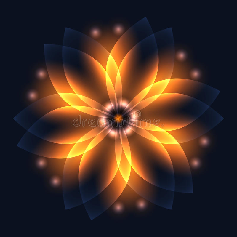 Abstract glowing light flower, symbol of life and energy, fire f. Ractal. Vector illustration vector illustration