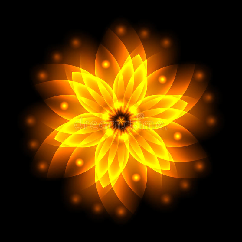 Abstract glowing light flower, symbol of life and energy, fire f. Ractal. Vector illustration stock illustration