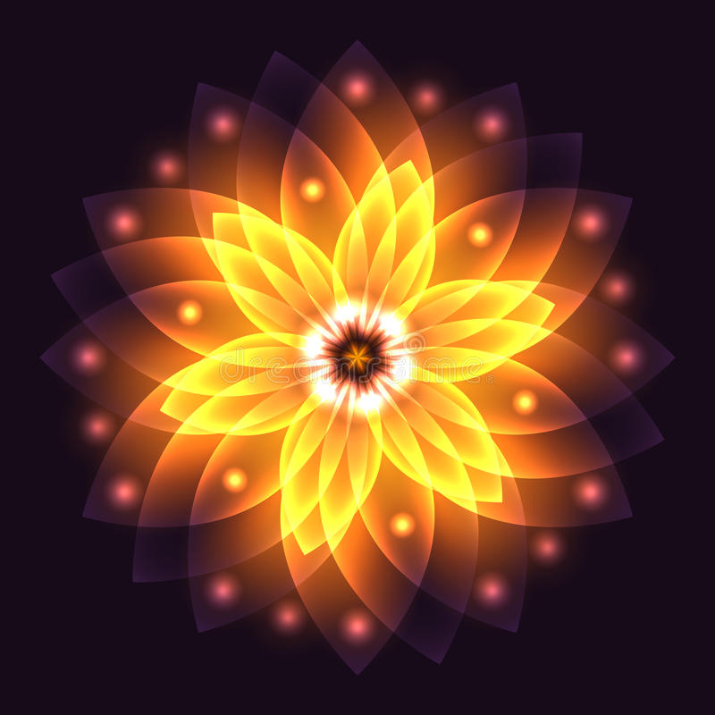 Abstract glowing light flower, symbol of life and energy, fire. Fractal. Vector illustration stock illustration