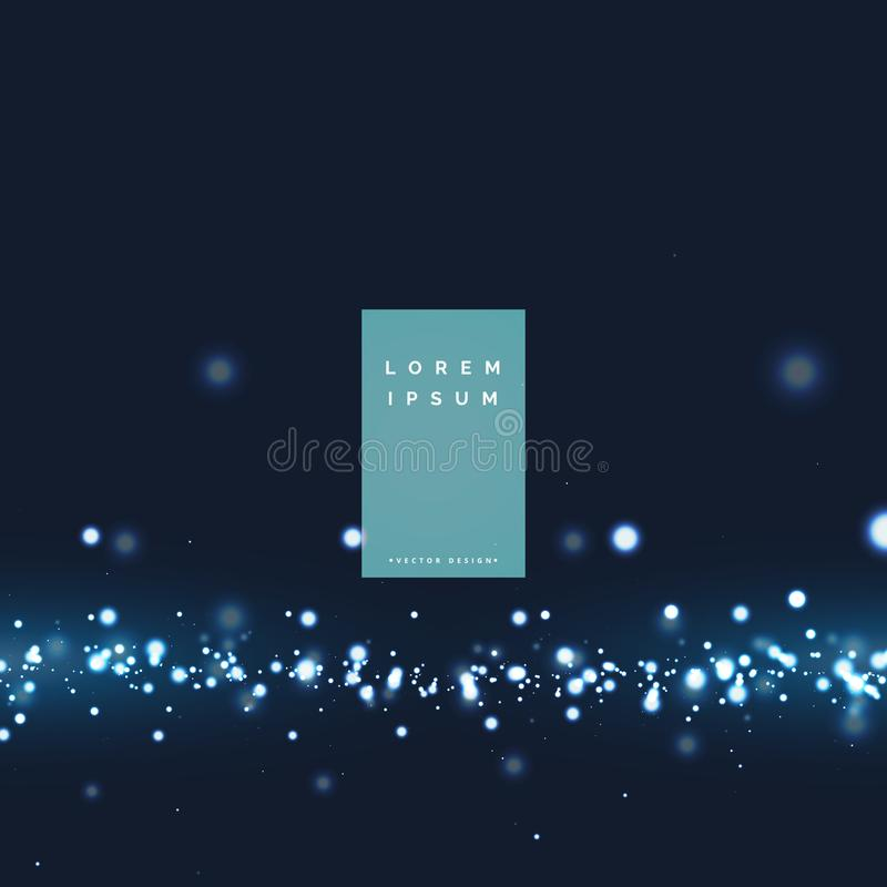 Abstract glowing light particle effect background stock illustration
