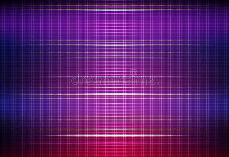 Illustration Abstract glowing, neon light effect, wave line, wavy pattern. Vector design communication techno on blue background. Futuristic digital technology vector illustration