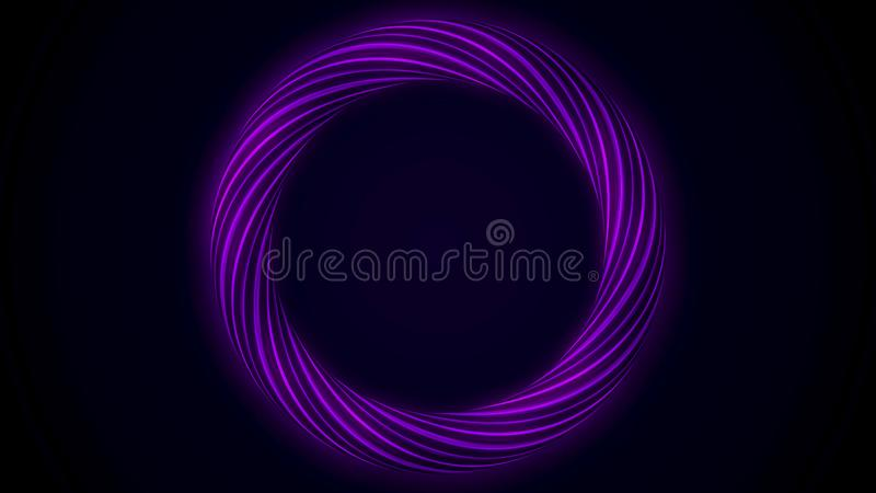 Abstract glowing ring from twisting fiber with blinking colors isolated on black background. Animation. Shining purple stock illustration