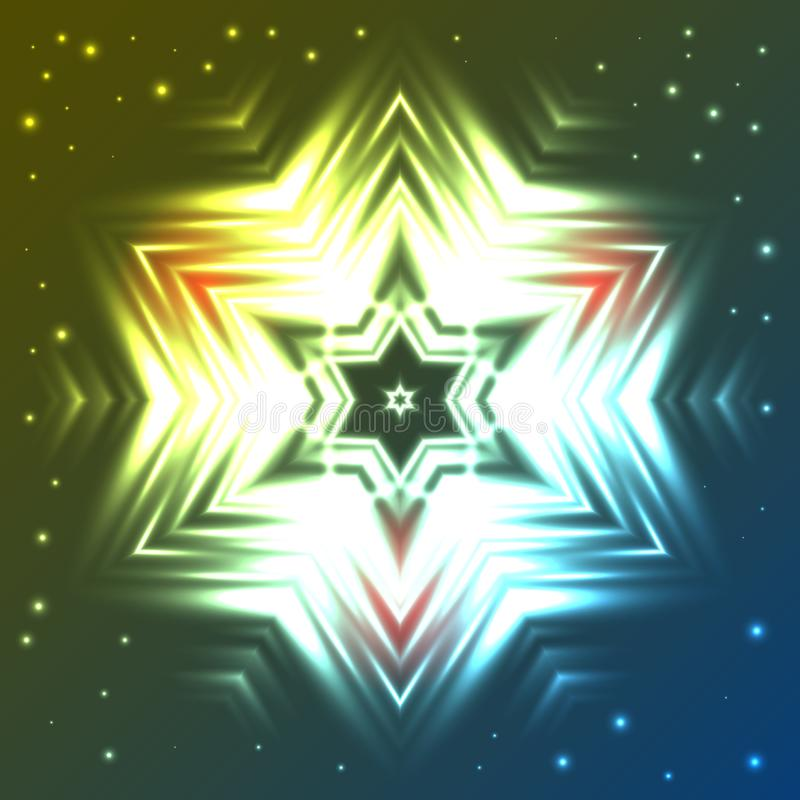 Glowing star on dark blue and green gradient background with sparkles. Abstract glowing star on dark blue and green gradient background with sparkles royalty free illustration