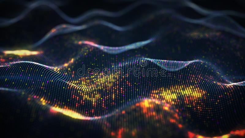 Abstract glowing virtual neural network. Futuristic coding or Artificial Intelligence concept. 3D rendering with depth of field stock illustration