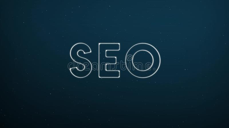 Abstract glowing word SEO on dark blue digital background vector illustration