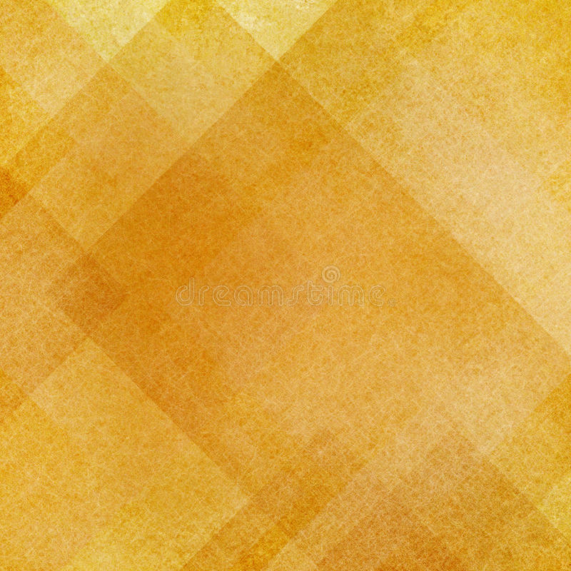Abstract gold background squares rectangles and triangles in geometric pattern design. Textured yellow orange paper. Diagonal block pattern. Diamond shapes and stock image