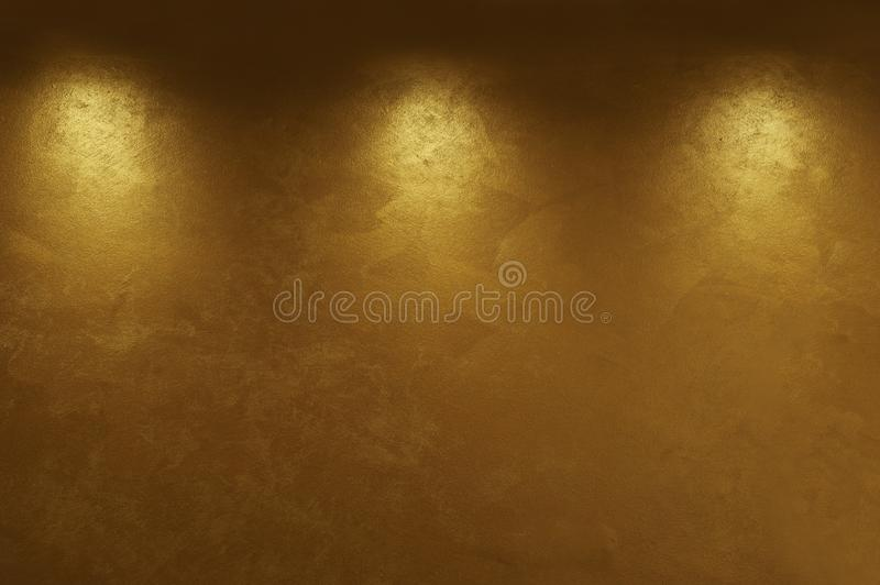 Abstract gold background with three light points stock images