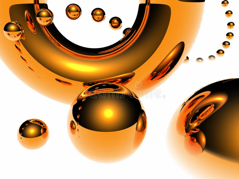 Abstract gold balls. Abstract fantastic composition consisting of flying gold spheres royalty free illustration