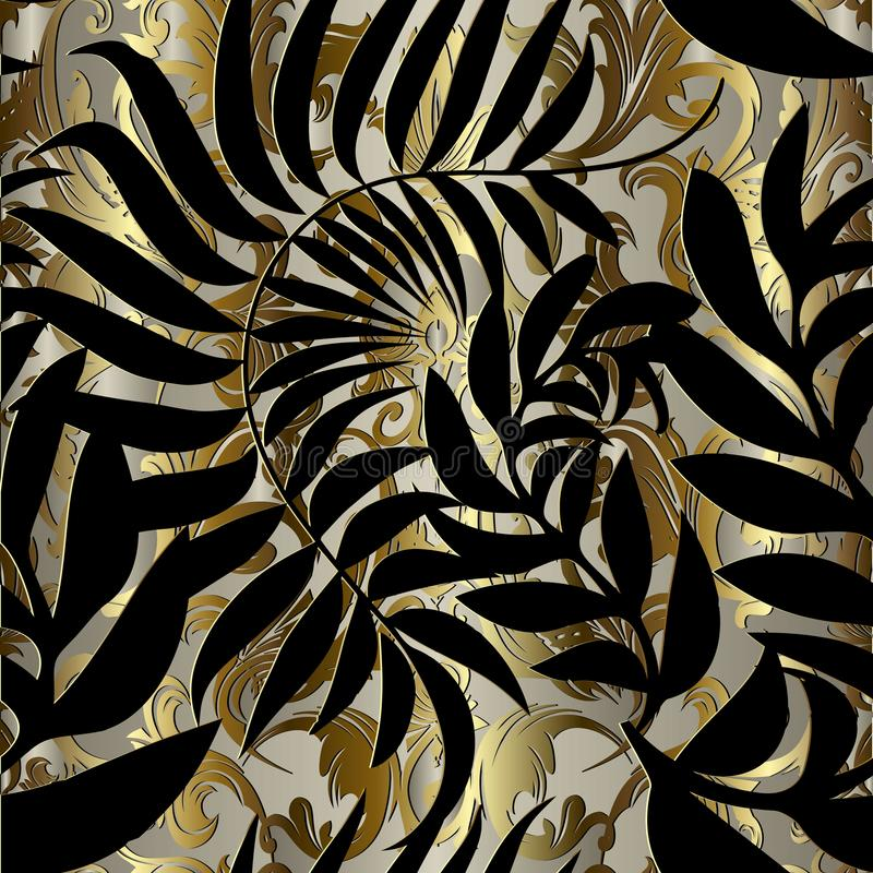 Abstract gold baroque vector seamless pattern. Patterned ornamental antique background with gold vintage flowers, black leaves si. Lhouettes. Ornate decorative royalty free illustration