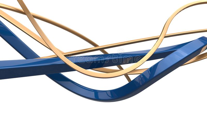 Abstract gold and blue 3D shapes and flows royalty free illustration
