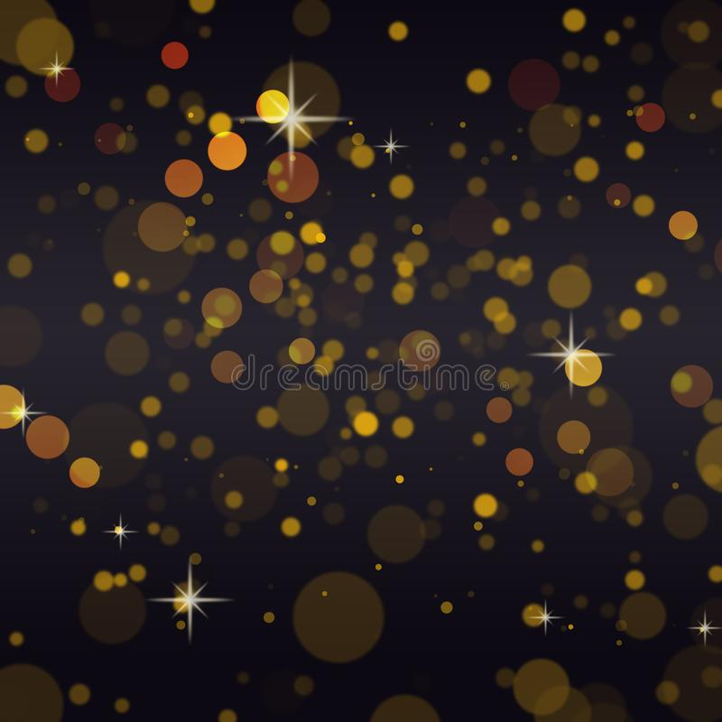 Abstract gold bokeh on black background,Copy space vector illustration