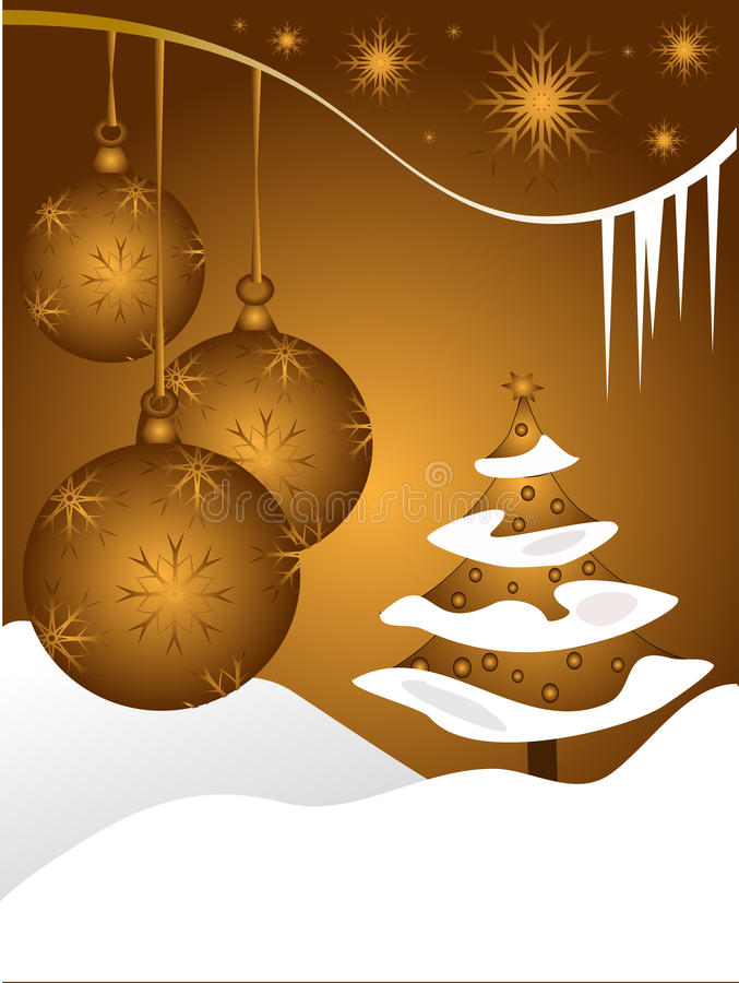 Abstract gold christmas baubles background royalty free illustration