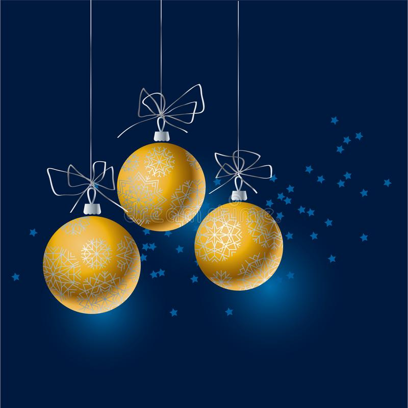 Abstract gold Christmas tree baubles header. vector illustration