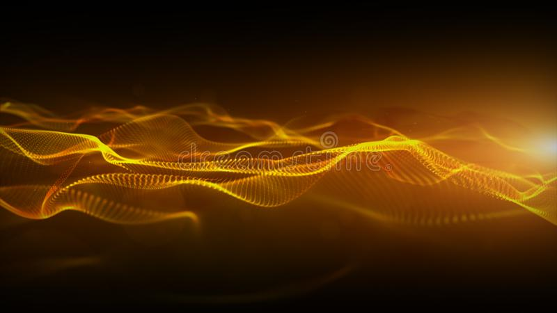 Abstract gold color digital particles wave with bokeh and light motion background vector illustration