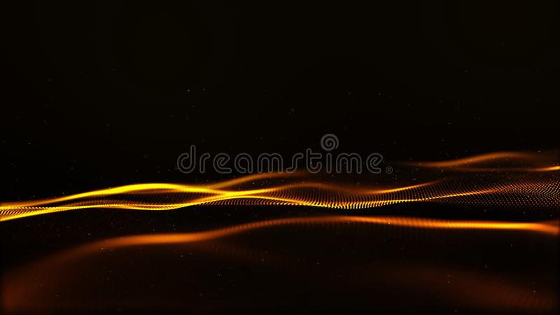 Abstract gold color digital particles wave with bokeh and light motion background royalty free illustration