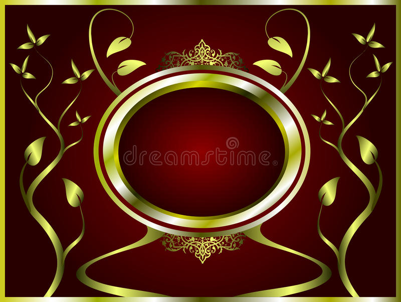 Abstract Gold and deep red Floral Background vector illustration