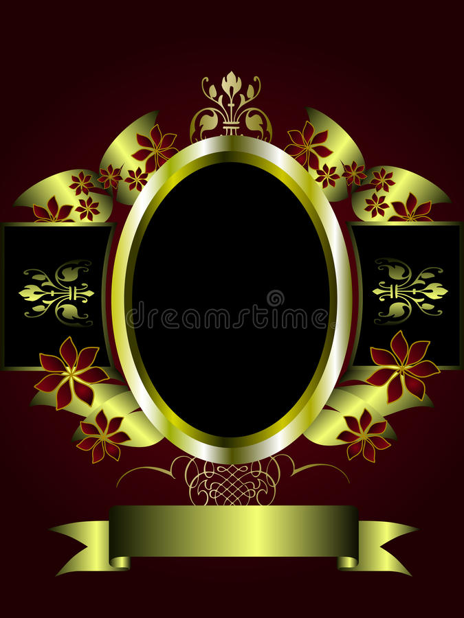 Abstract Gold and deep red Floral Background stock illustration