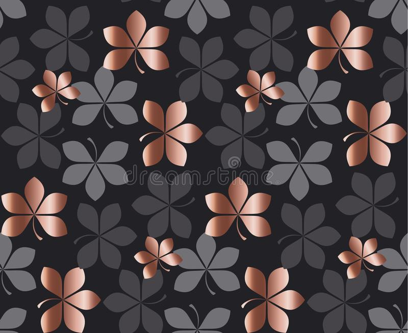 Abstract gold fall leaves pattern vector illustration. stock illustration