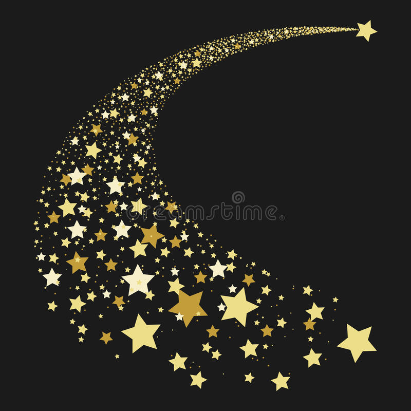 Abstract gold falling star stock images