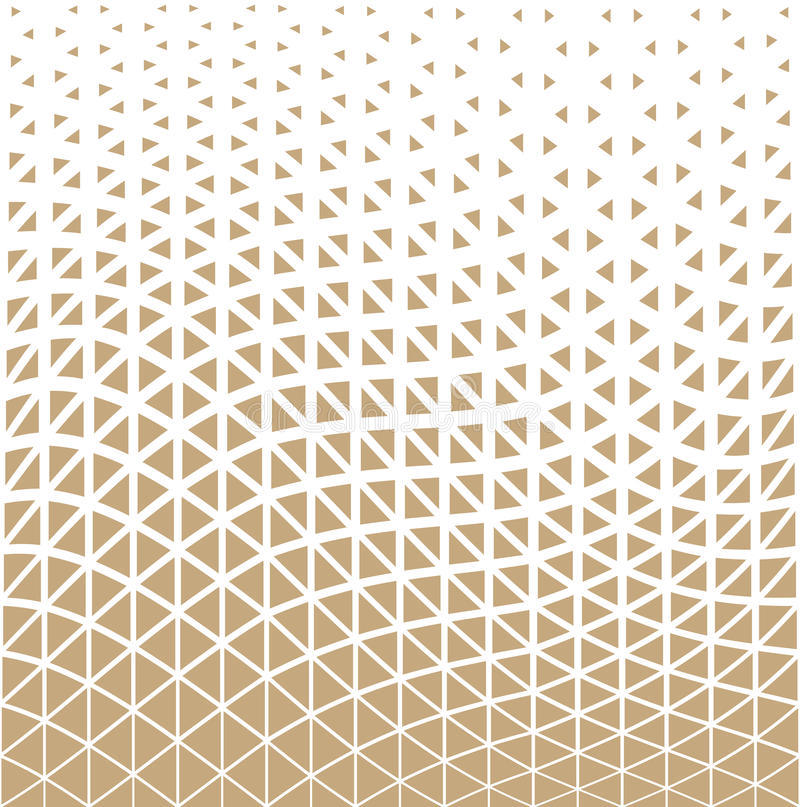 Abstract gold geometric triangle design halftone pattern stock illustration