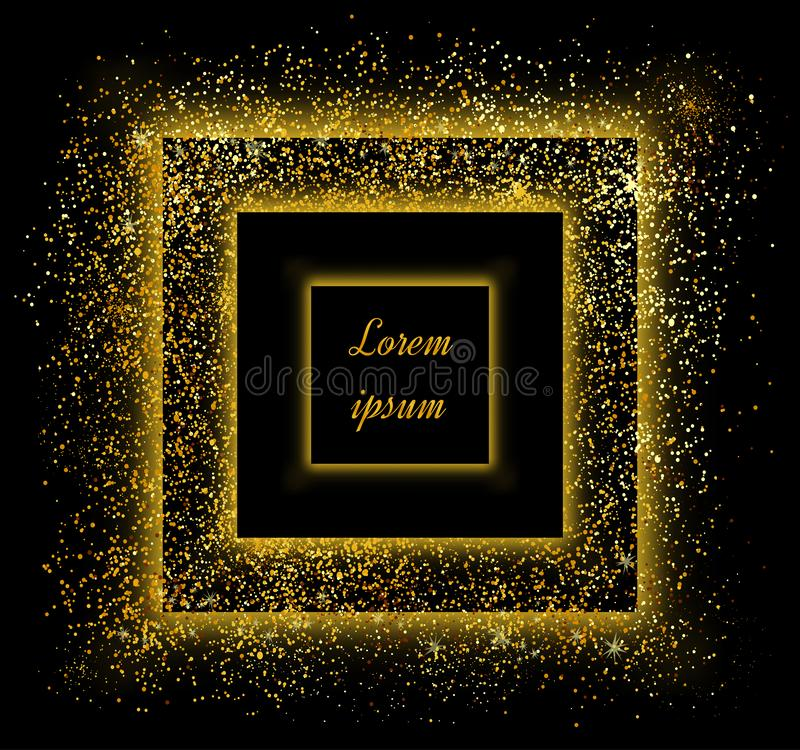 Abstract gold glitter background. Golden sparkles for card royalty free illustration